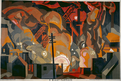 """A Blast Furnace"", http://www.flickr.com/photos/nationalarchives/8766040824/ ""A Blast Furnace"", autor Clive Gardiner, 1927-33; plakat ze zbiorów ""The National Archives UK"";"