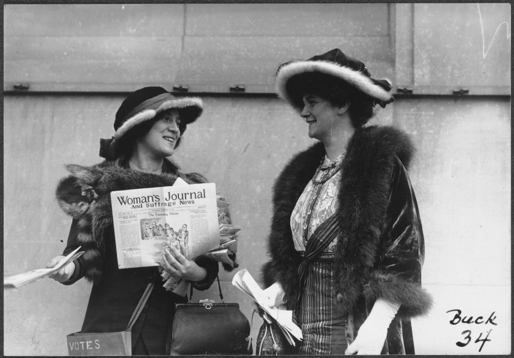 Suffragist Margaret Foley distributing the Woman's Journal and Suffrage News, 1913