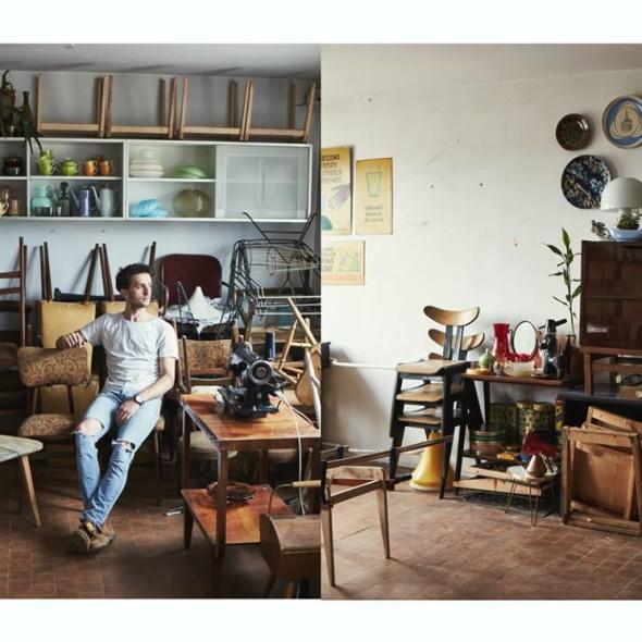 Na zdjęciu Daniel Stoiński, twórca projektu Pikasy Sklep oraz firmy Daniel Stoiński Redesign. Materiał dla Patyna, fot. Grzegorz Broniatowski, Max Zieliński.