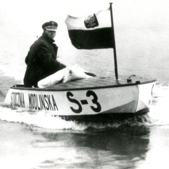 """Ślizgowiec """"S 3"""" ze Stoczni Modlińskiej, Flotylla Pińska, Fotografia, przed 1939, oryginał w zbiorach Narodowego Muzeum Morskiego w Gdańsku."""