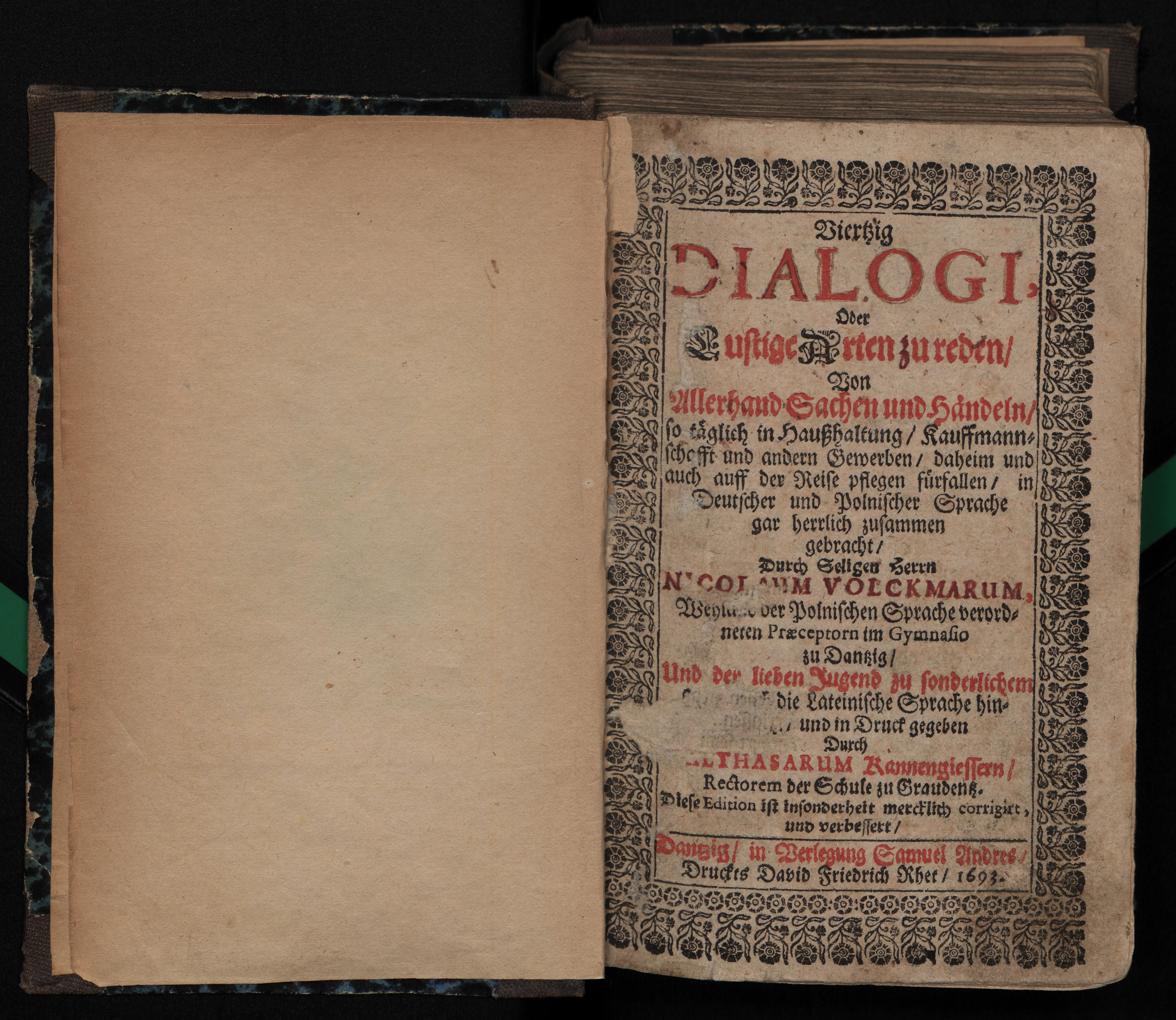 """Strona tytułowa """"Viertzig Dialogi"""" Mikołaja Volckmara, 1693, polona.pl"""
