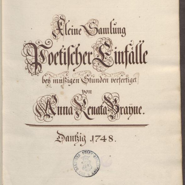 Karta tytułowa rękopisu Anny Renaty Breyne z 1748 roku